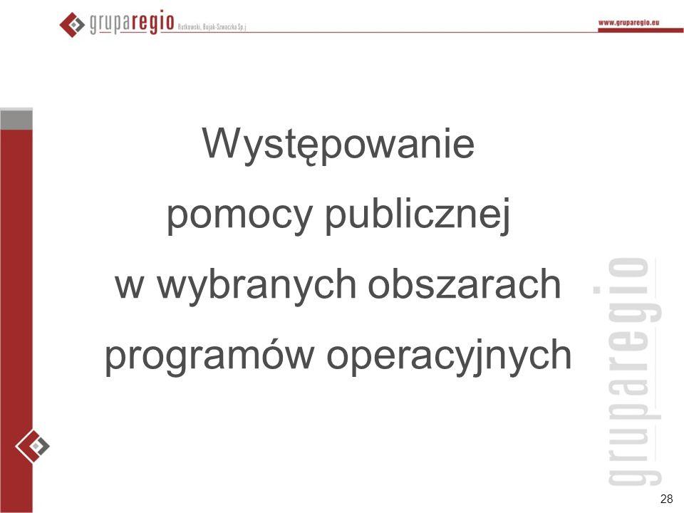 Występowanie pomocy publicznej w wybranych obszarach programów operacyjnych