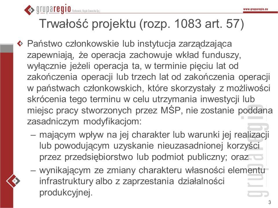 Trwałość projektu (rozp. 1083 art. 57)