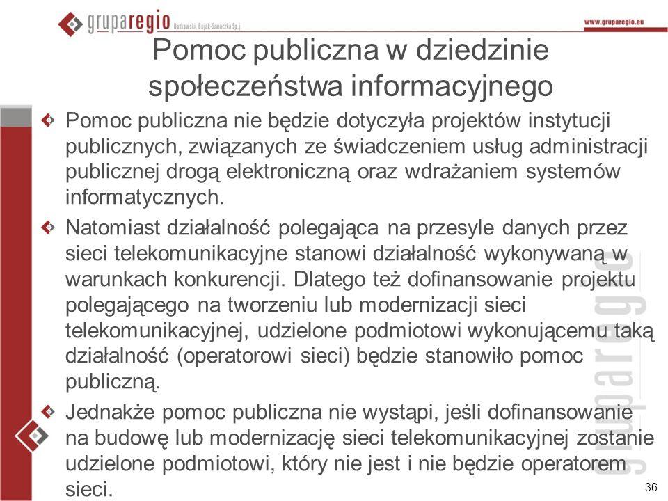 Pomoc publiczna w dziedzinie społeczeństwa informacyjnego