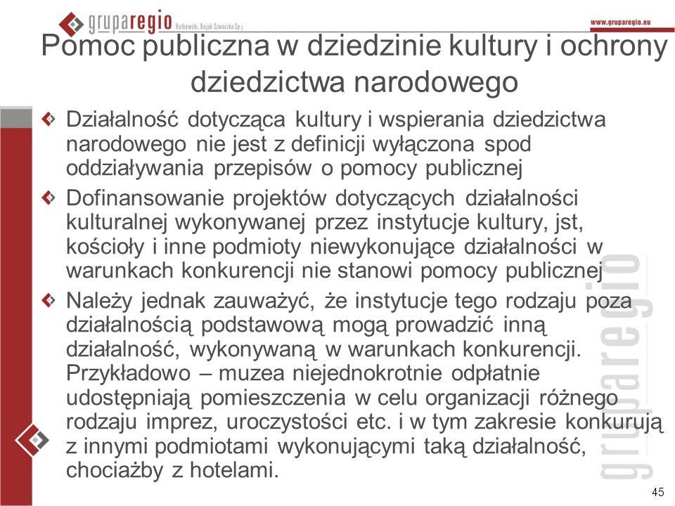 Pomoc publiczna w dziedzinie kultury i ochrony dziedzictwa narodowego