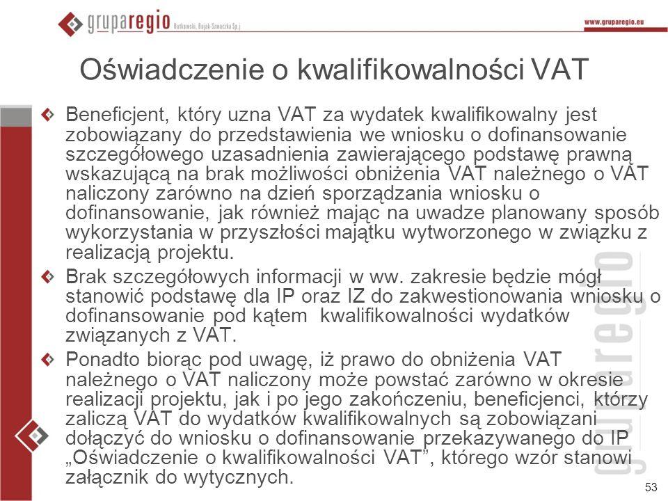 Oświadczenie o kwalifikowalności VAT