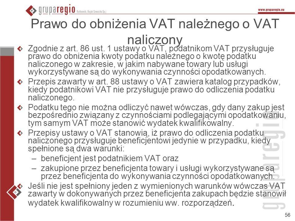 Prawo do obniżenia VAT należnego o VAT naliczony