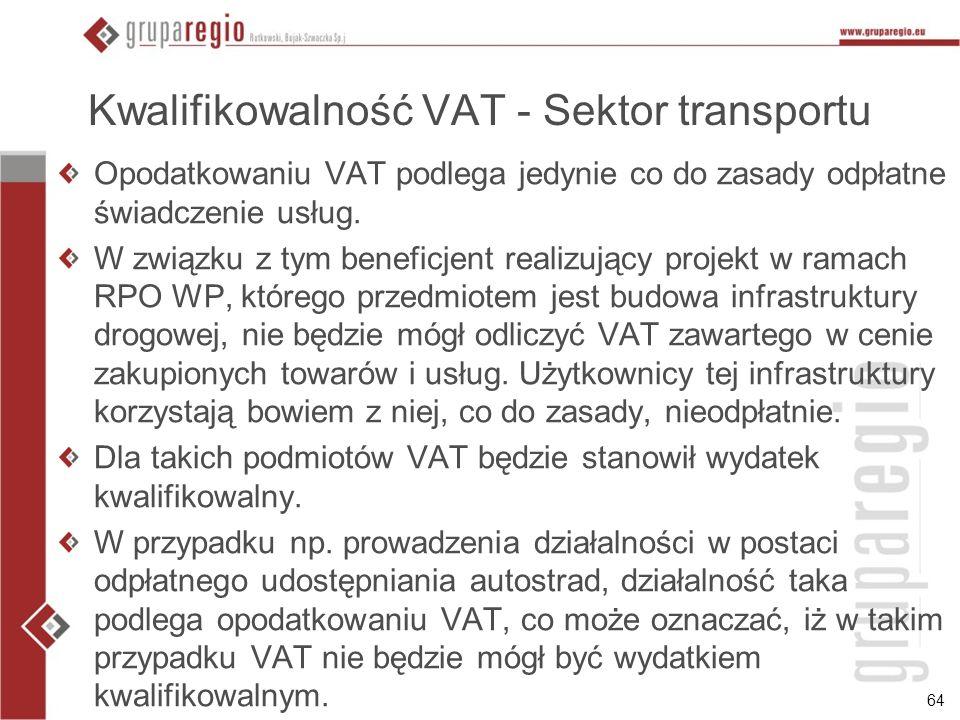 Kwalifikowalność VAT - Sektor transportu