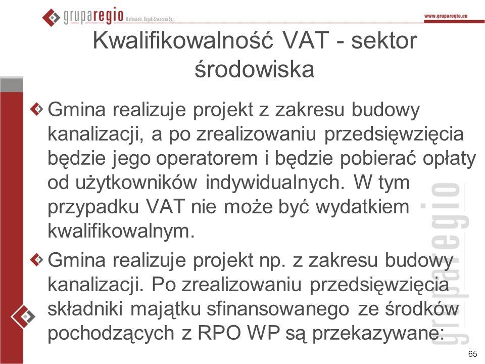 Kwalifikowalność VAT - sektor środowiska