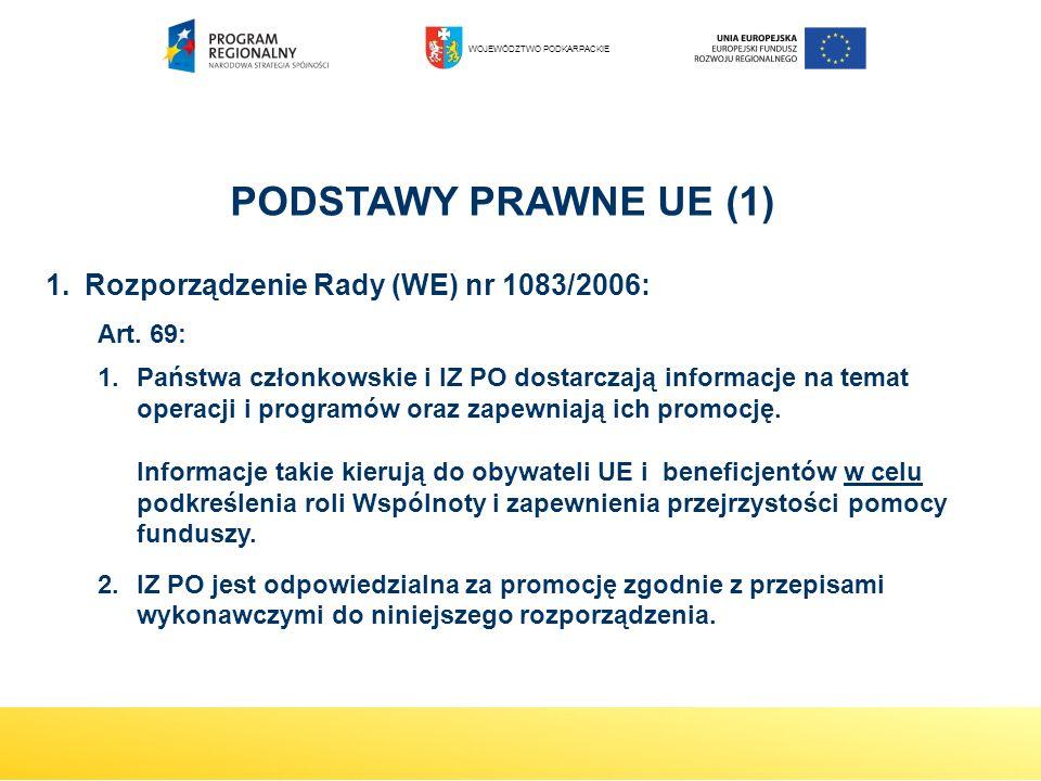PODSTAWY PRAWNE UE (1) Rozporządzenie Rady (WE) nr 1083/2006: Art. 69: