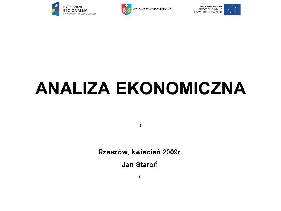 ANALIZA EKONOMICZNA ' ' Rzeszów, kwiecień 2009r. Jan Staroń