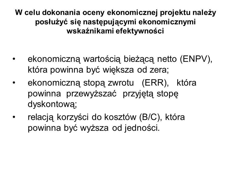 W celu dokonania oceny ekonomicznej projektu należy posłużyć się następującymi ekonomicznymi wskaźnikami efektywności