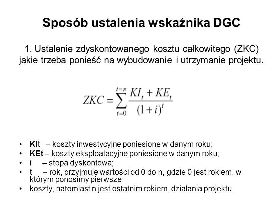 Sposób ustalenia wskaźnika DGC 1