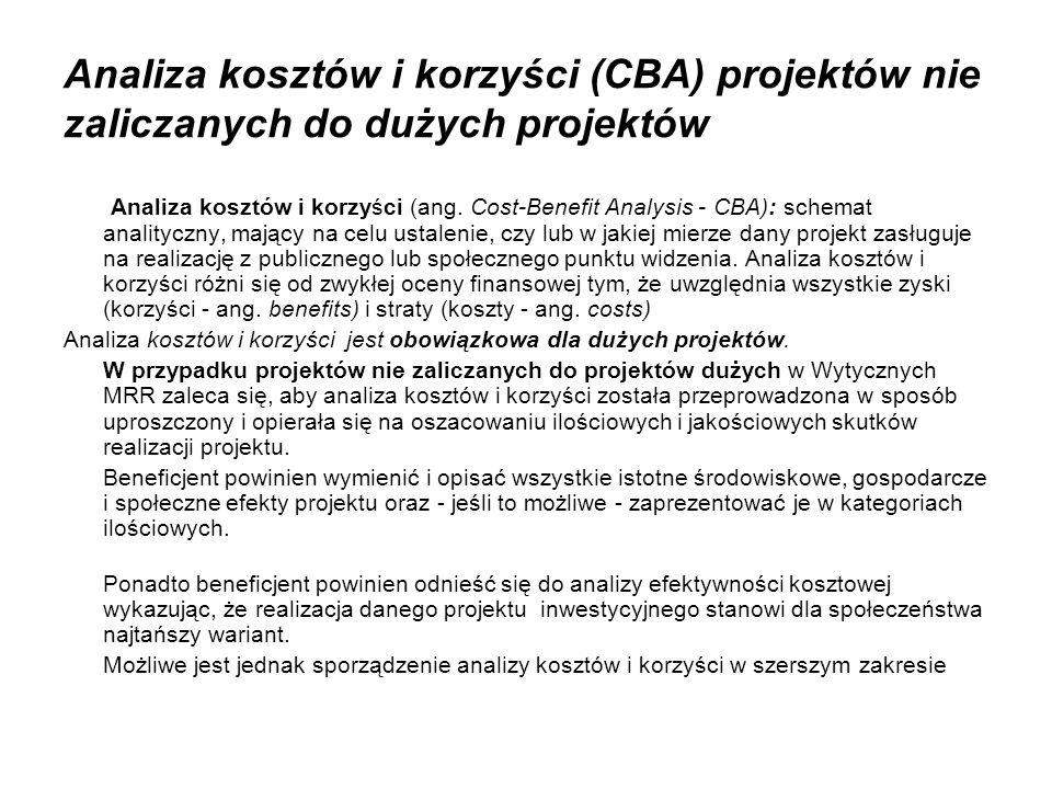 Analiza kosztów i korzyści (CBA) projektów nie zaliczanych do dużych projektów