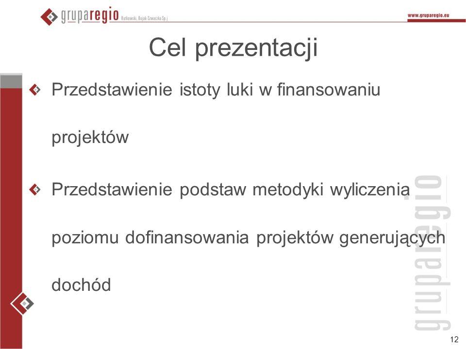 Cel prezentacji Przedstawienie istoty luki w finansowaniu projektów