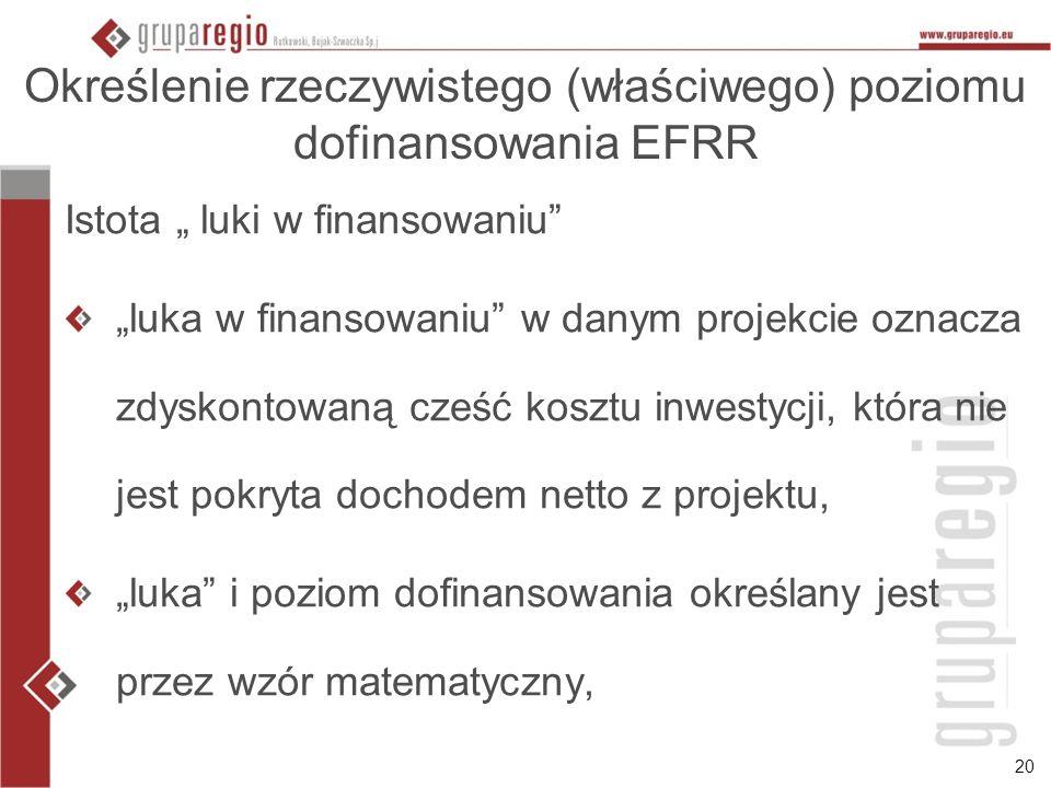 Określenie rzeczywistego (właściwego) poziomu dofinansowania EFRR