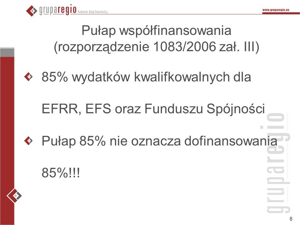 Pułap współfinansowania (rozporządzenie 1083/2006 zał. III)