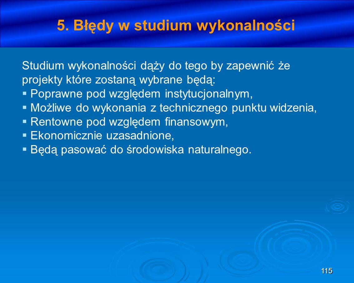 5. Błędy w studium wykonalności