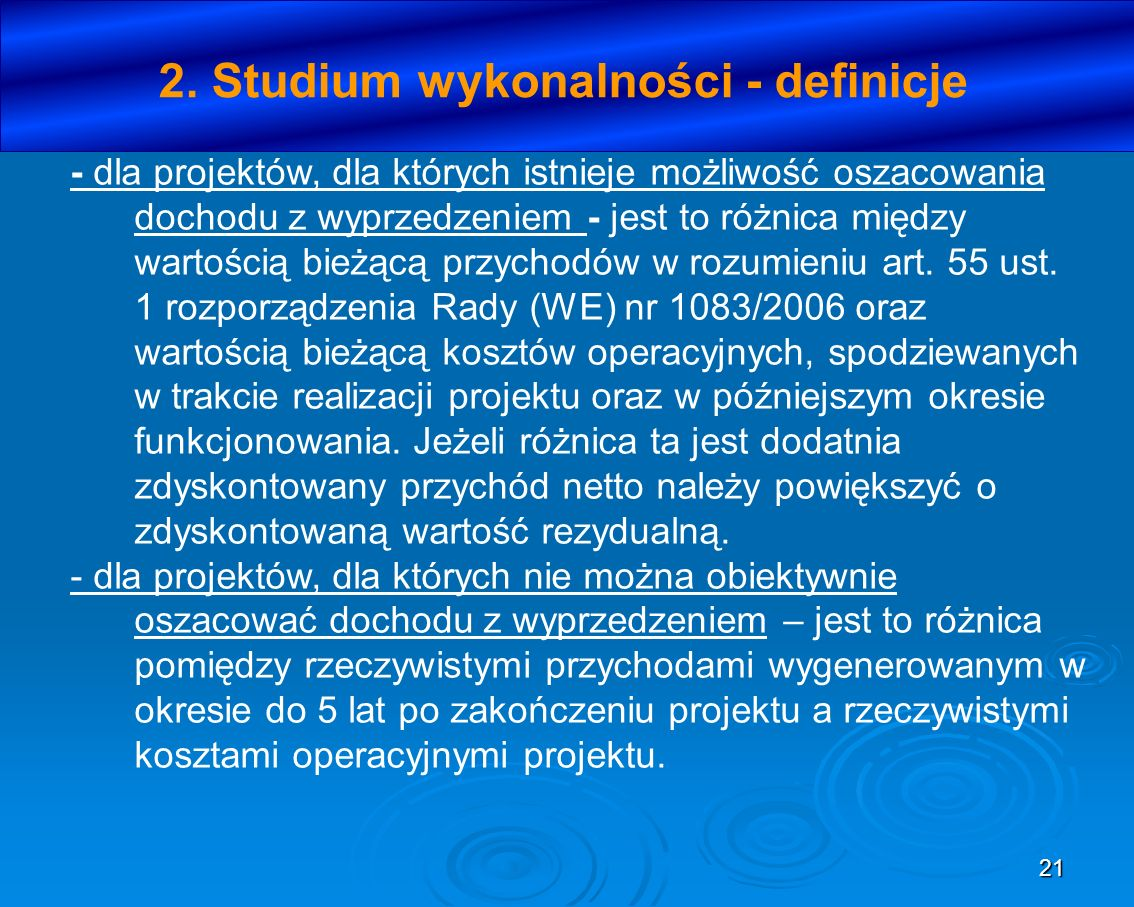 2. Studium wykonalności - definicje