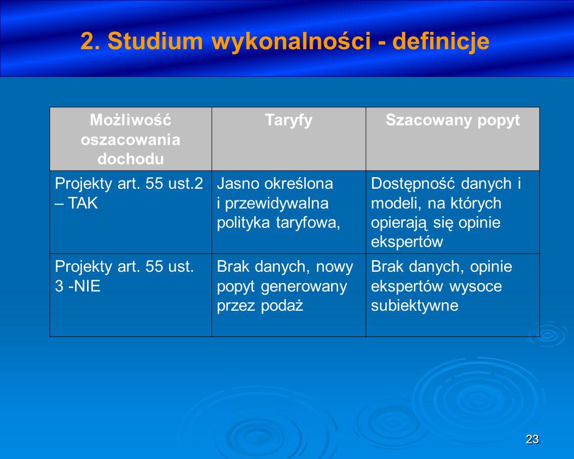 2. Studium wykonalności - definicje Możliwość oszacowania dochodu