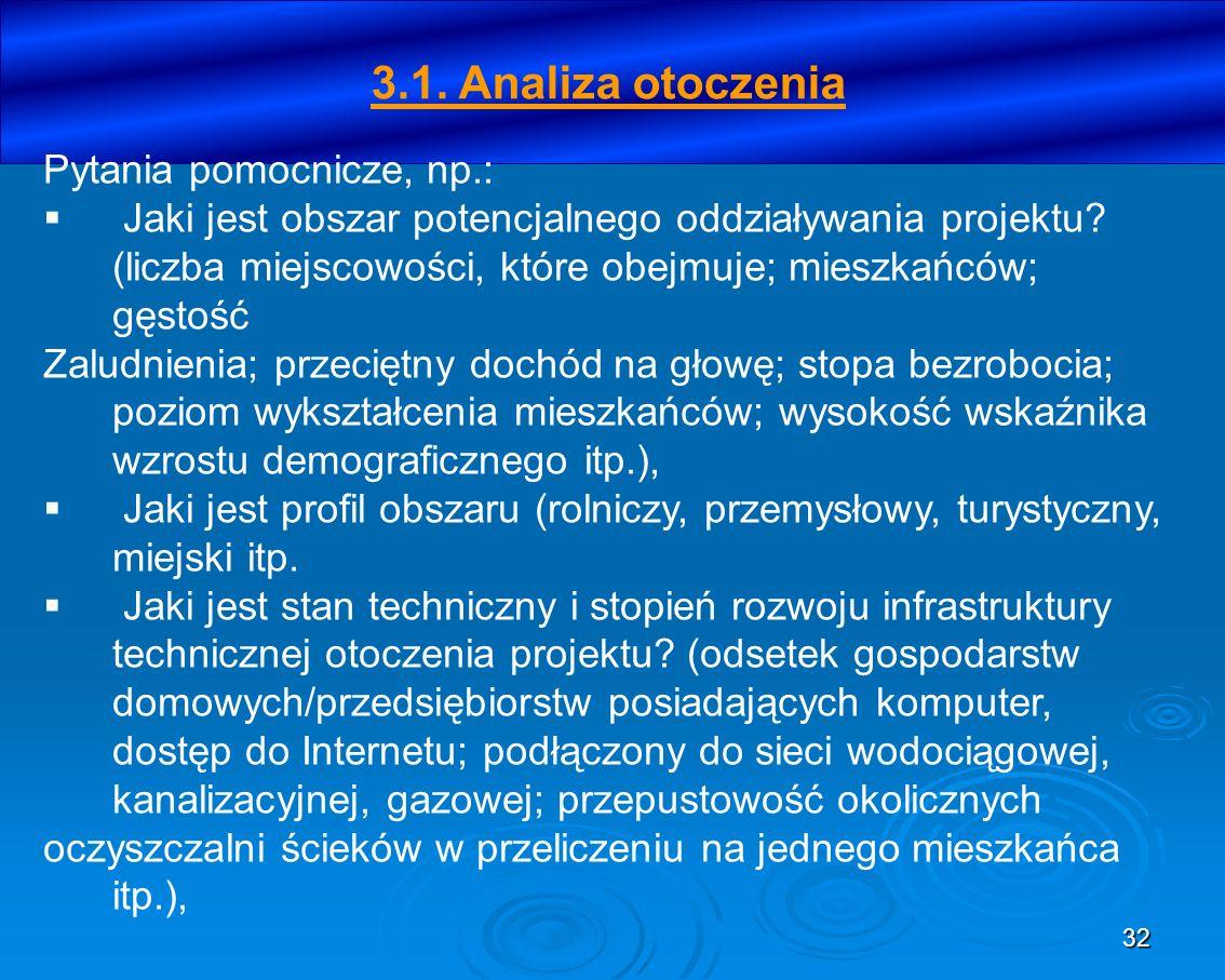 3.1. Analiza otoczenia Pytania pomocnicze, np.: