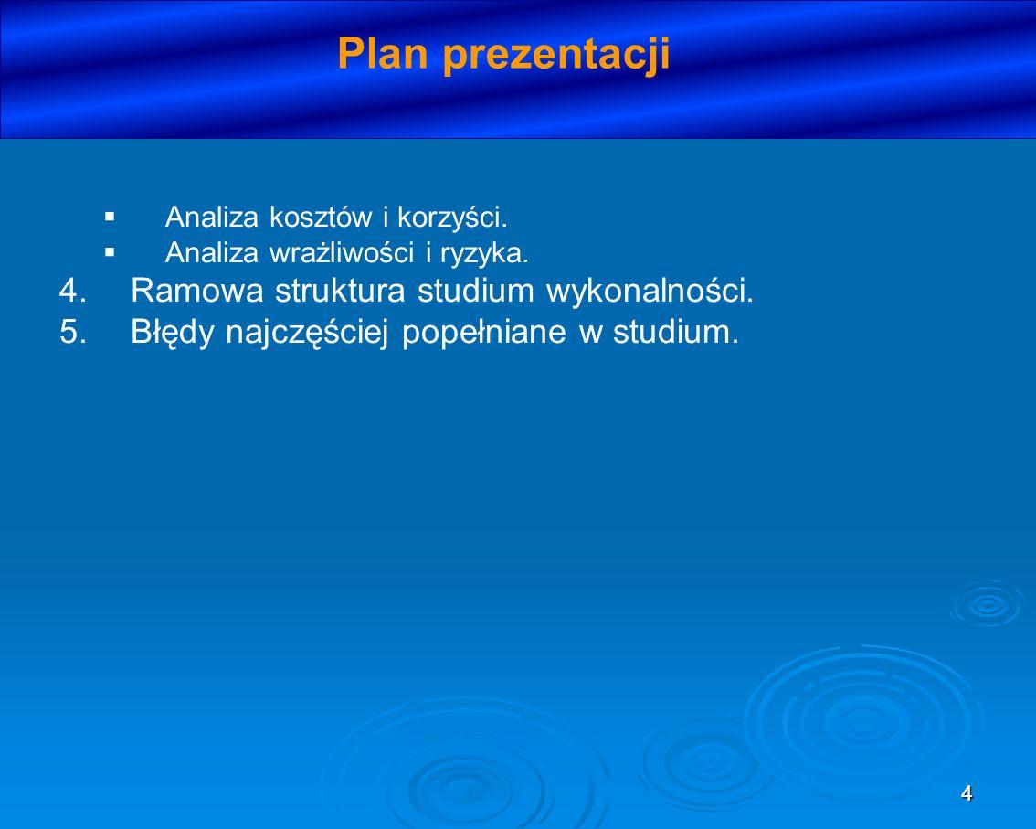Plan prezentacji Ramowa struktura studium wykonalności.