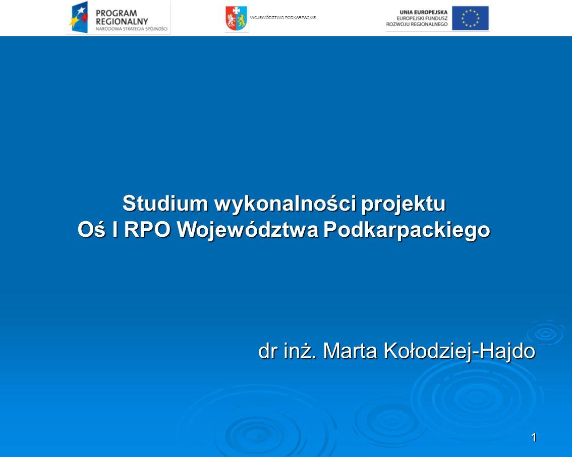 Studium wykonalności projektu Oś I RPO Województwa Podkarpackiego