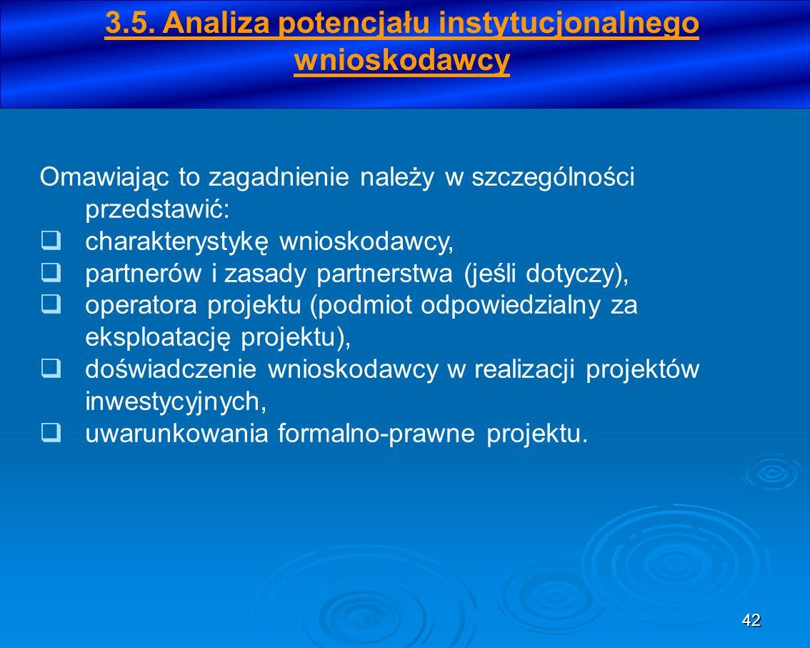 3.5. Analiza potencjału instytucjonalnego wnioskodawcy