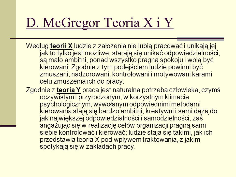 D. McGregor Teoria X i Y