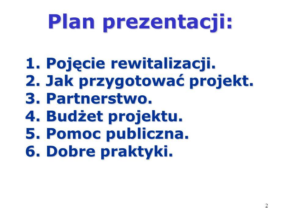 Plan prezentacji: 1. Pojęcie rewitalizacji.