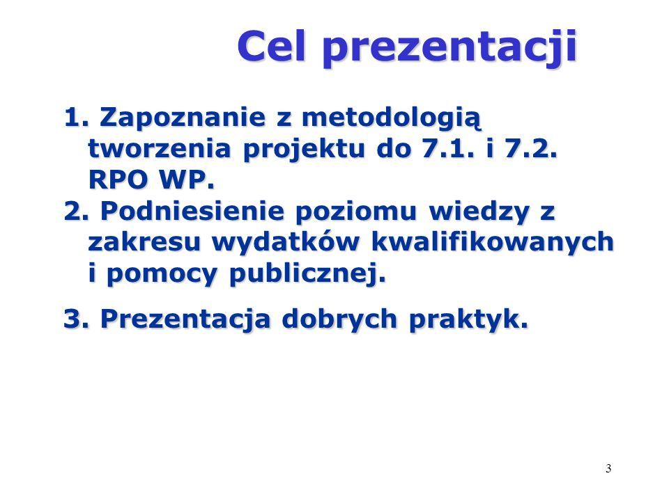 Cel prezentacji 1. Zapoznanie z metodologią tworzenia projektu do 7.1. i 7.2. RPO WP.
