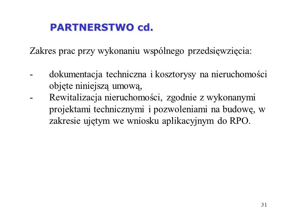 PARTNERSTWO cd. Zakres prac przy wykonaniu wspólnego przedsięwzięcia: dokumentacja techniczna i kosztorysy na nieruchomości objęte niniejszą umową,