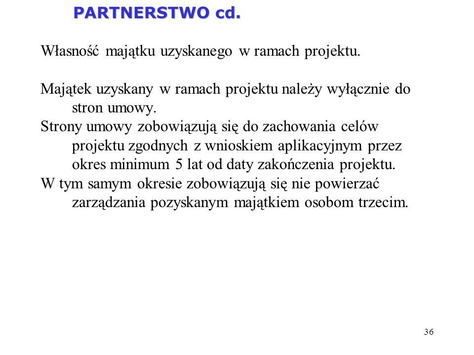 PARTNERSTWO cd. Własność majątku uzyskanego w ramach projektu