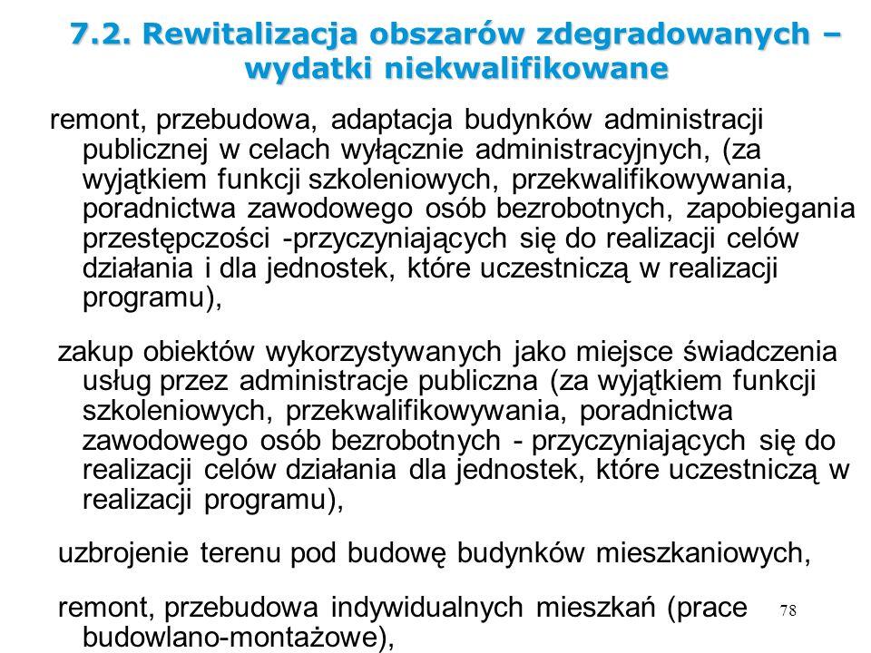 7.2. Rewitalizacja obszarów zdegradowanych – wydatki niekwalifikowane