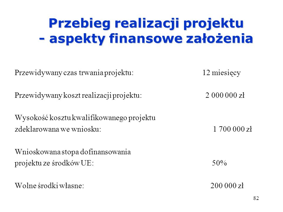 Przebieg realizacji projektu - aspekty finansowe założenia