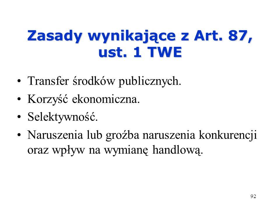 Zasady wynikające z Art. 87, ust. 1 TWE