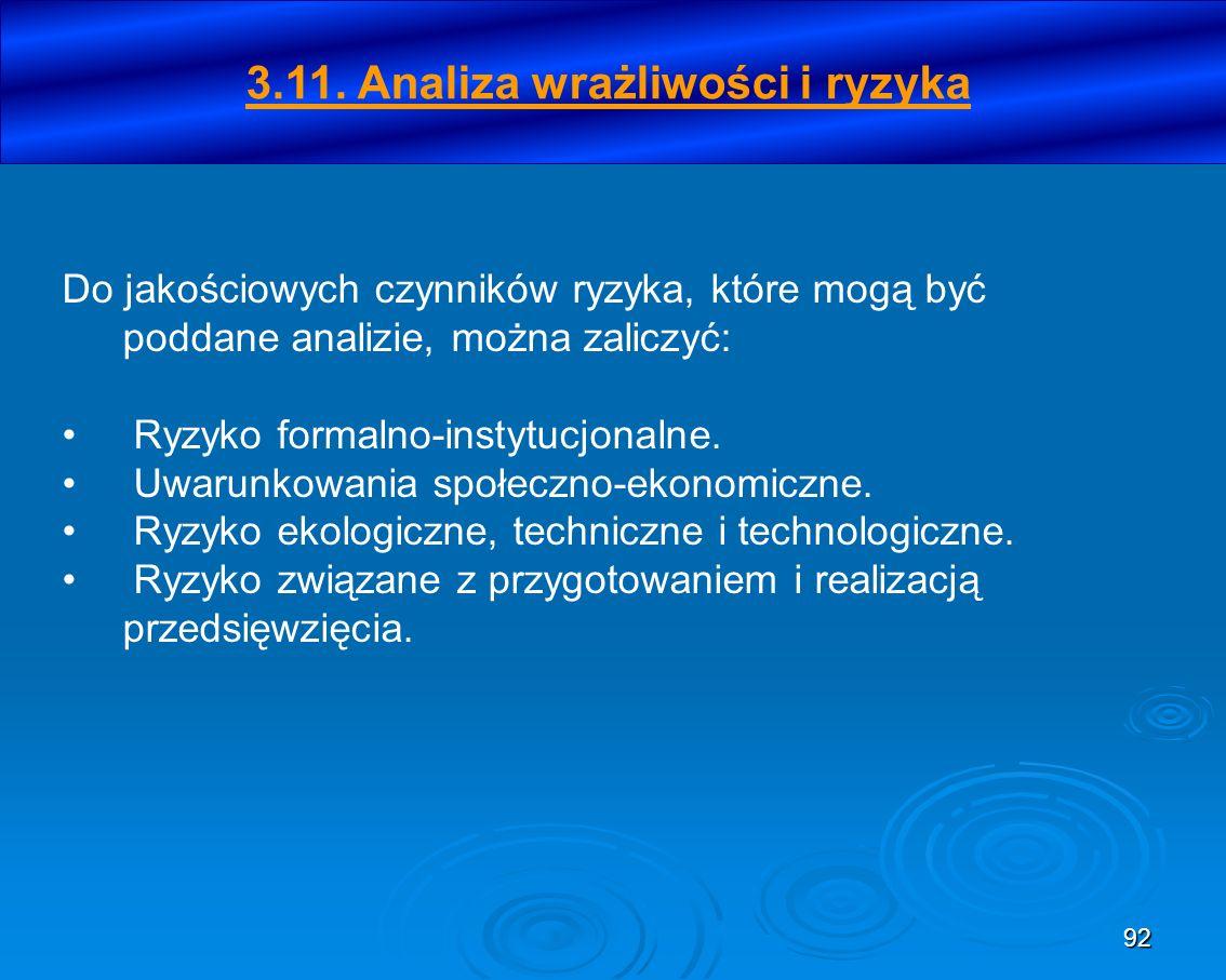 3.11. Analiza wrażliwości i ryzyka