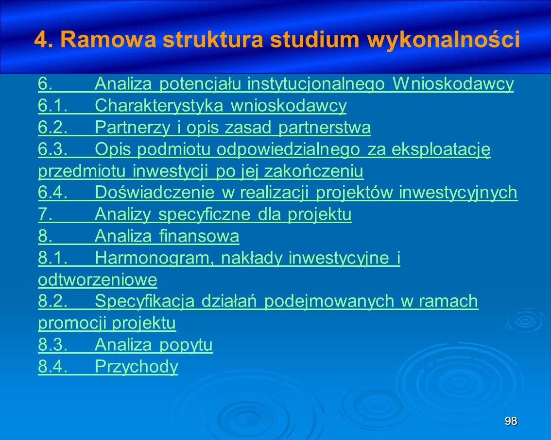 4. Ramowa struktura studium wykonalności