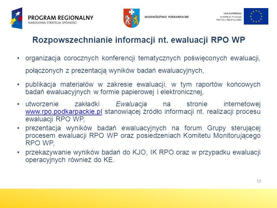 Rozpowszechnianie informacji nt. ewaluacji RPO WP