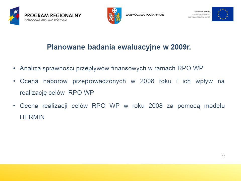 Planowane badania ewaluacyjne w 2009r.