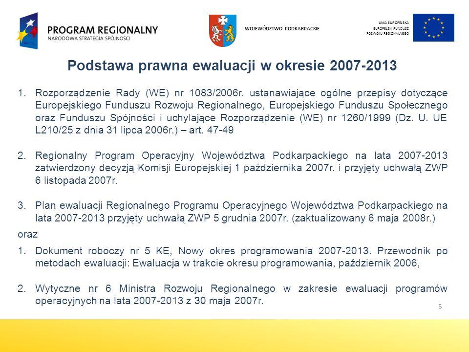 Podstawa prawna ewaluacji w okresie 2007-2013
