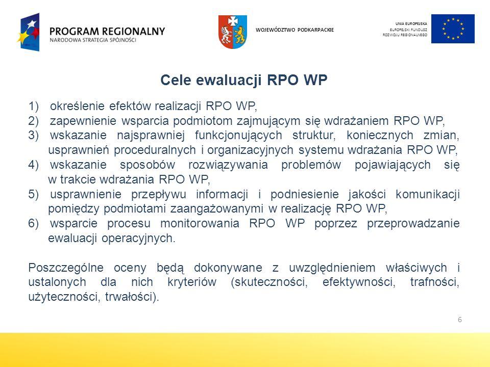 Cele ewaluacji RPO WP określenie efektów realizacji RPO WP,