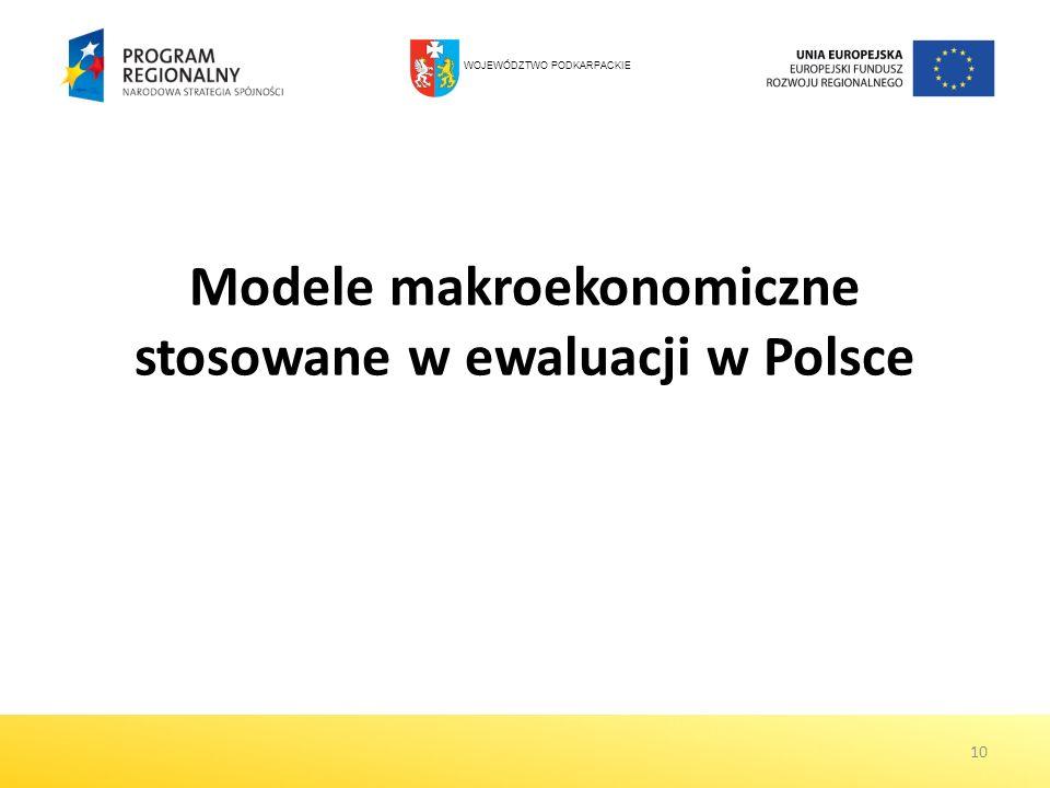 Modele makroekonomiczne stosowane w ewaluacji w Polsce