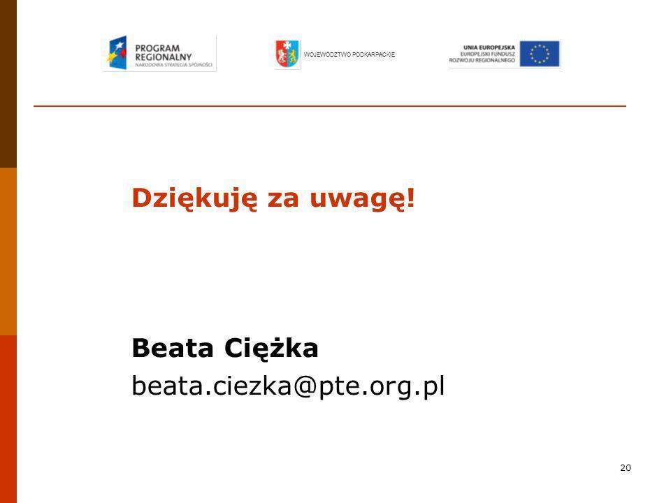 Dziękuję za uwagę! Beata Ciężka beata.ciezka@pte.org.pl
