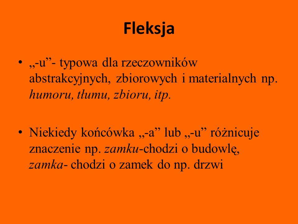 """Fleksja """"-u - typowa dla rzeczowników abstrakcyjnych, zbiorowych i materialnych np. humoru, tłumu, zbioru, itp."""