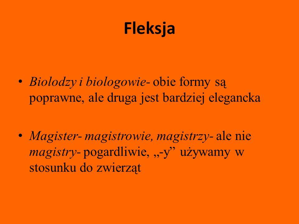 Fleksja Biolodzy i biologowie- obie formy są poprawne, ale druga jest bardziej elegancka.