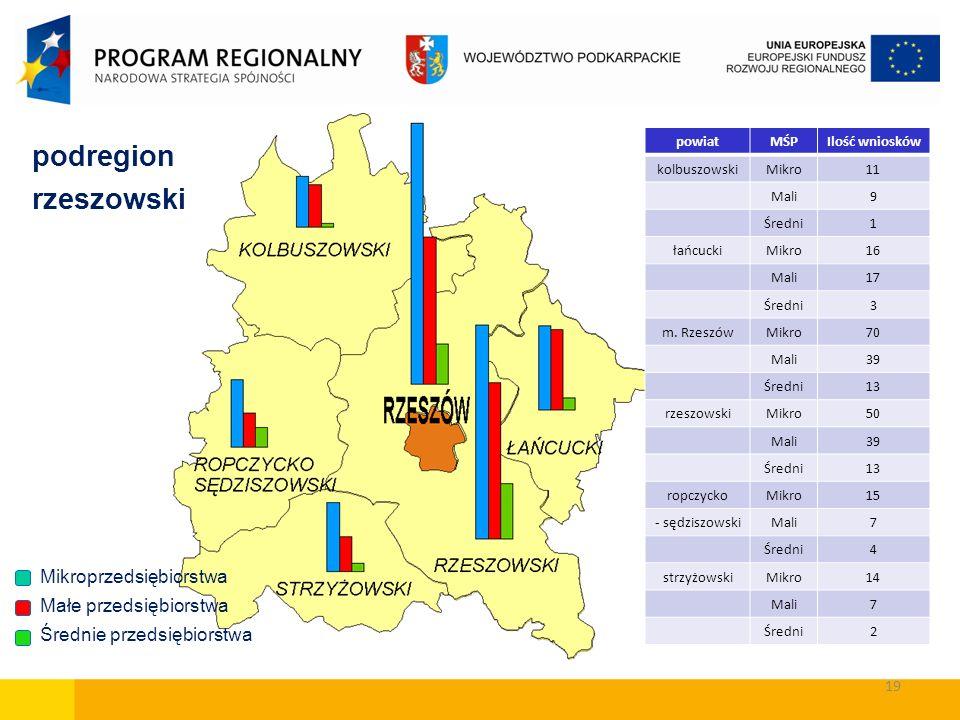 podregion rzeszowski Małe przedsiębiorstwa Średnie przedsiębiorstwa