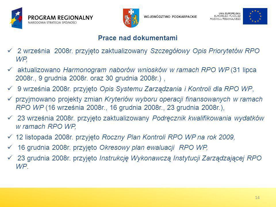 12 listopada 2008r. przyjęto Roczny Plan Kontroli RPO WP na rok 2009,