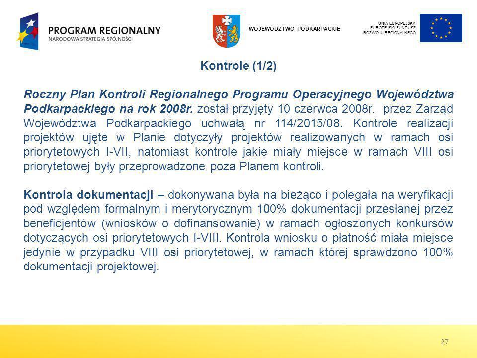 UNIA EUROPEJSKA EUROPEJSKI FUNDUSZ ROZWOJU REGIONALNEGO. WOJEWÓDZTWO PODKARPACKIE. Kontrole (1/2)