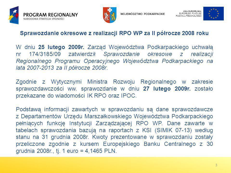Sprawozdanie okresowe z realizacji RPO WP za II półrocze 2008 roku