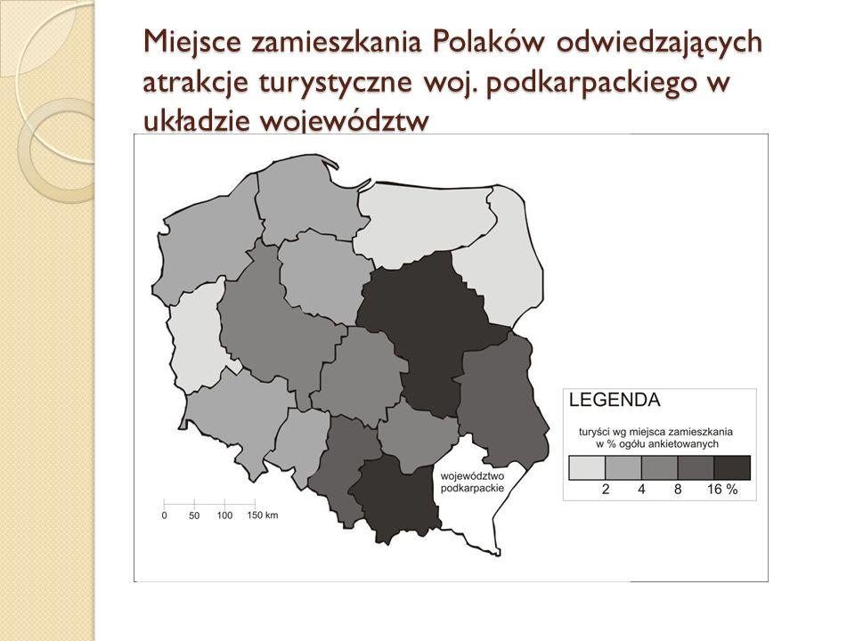 Miejsce zamieszkania Polaków odwiedzających atrakcje turystyczne woj