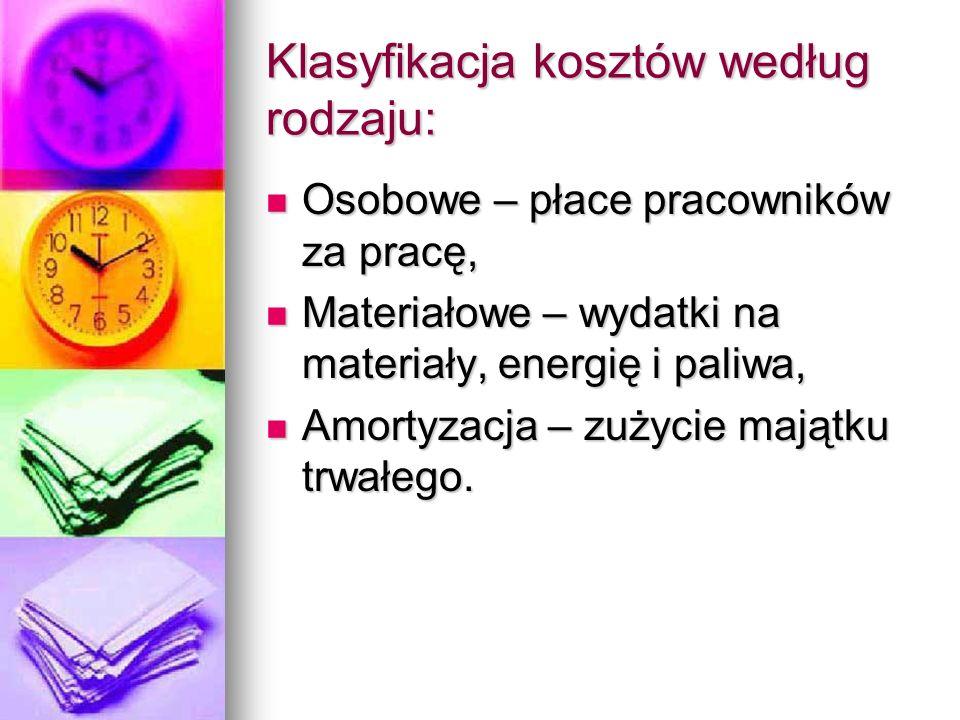 Klasyfikacja kosztów według rodzaju: