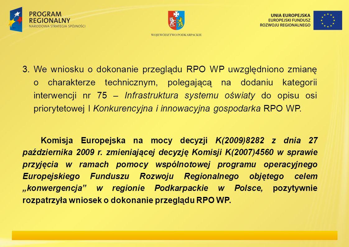 3. We wniosku o dokonanie przeglądu RPO WP uwzględniono zmianę o charakterze technicznym, polegającą na dodaniu kategorii interwencji nr 75 – Infrastruktura systemu oświaty do opisu osi priorytetowej I Konkurencyjna i innowacyjna gospodarka RPO WP.