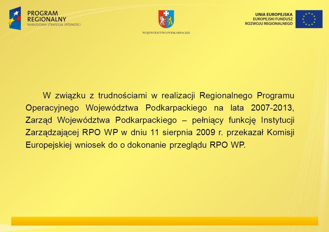W związku z trudnościami w realizacji Regionalnego Programu Operacyjnego Województwa Podkarpackiego na lata 2007-2013, Zarząd Województwa Podkarpackiego – pełniący funkcję Instytucji Zarządzającej RPO WP w dniu 11 sierpnia 2009 r.