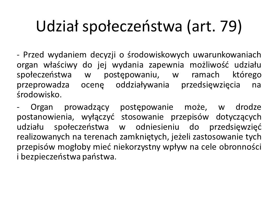 Udział społeczeństwa (art. 79)
